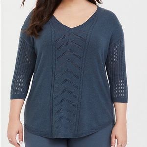 Torrid Pointelle Tunic V-Neck Cable Knit Sweater 2